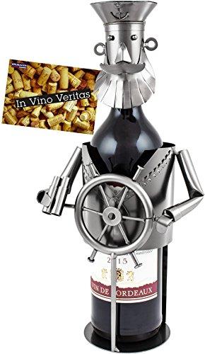 Brubaker Titolare Bottiglia di Vino Basamento Capitano Oggetto Decorativo Metallo con Biglietto d' Auguri per Vino Regalo