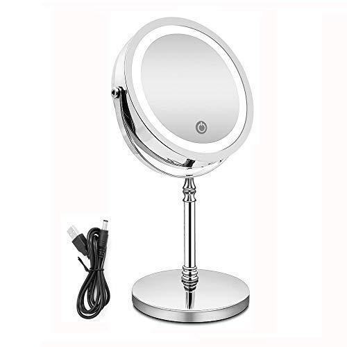 ELim Espejo Maquillaje con Luz, Espejo Aumento 10x USB Recargable LED Espejo Doble Cara con Luz LED...