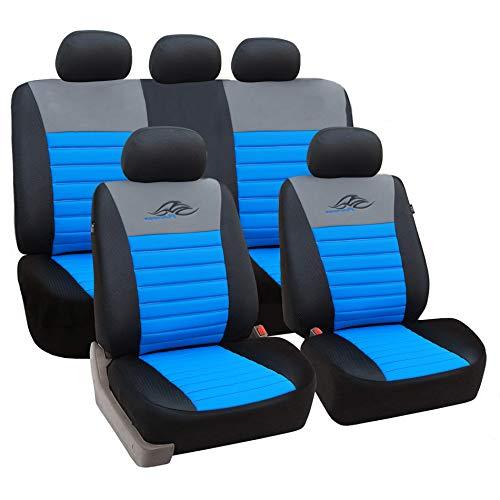 eSituro universal Sitzbezüge für Auto Schonbezug Schoner Komplettset schwarz/blau SCSC0114