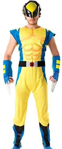 Zauberclown - Herren Wolverine Comic Kostüm, Cosplay, Karneval, S, Gelb-Blau