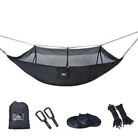 NatureFun Ultraleichte Moskito Netz Camping Hängematte / 300kg Tragfähigkeit,(275 x 140 cm) Atmungsaktiv, schnell trocknende Fallschirm Nylon / Enthalten 2 x Premium Karabinerhaken 4 x Nylonschlingen / Fürs Freie oder einen