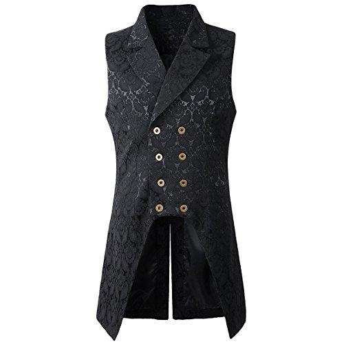Nofonda Herren Weste Gotisch Steampunk Mittelalter Zweireihige Weste Brokat Frack VTG Tailcoat für Halloween Party Kostüm (schwarz, Large)