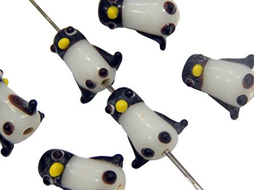 Perlin - 16Stk. Kinder-Perlen Porzellanperlen Keramikperlen Tier-Perlen Pinguin Keramische Porzellan Perlen in schwarz/weiß Zwischenperlen Perle Zum Fädeln D207B x2