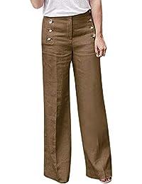 1a1a30ed4f25d Shujin Femme Pantalon Jambe Large en Coton Lin Couleur Unie Bouton Taille  Haute Décontracté Pants Lache