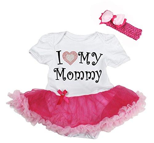Petitebelle I Love My Mommy White Bodysuit Hot Pink Tutu Nb-18m (6-12 (Mama Liebe Meine Kostüme Ich)