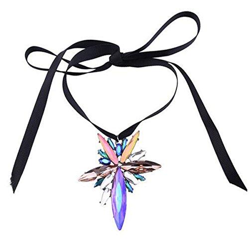 PLMOKN Einfaches Halskette Mode Luxus-Glas-Anhänger Band Kettenschloss Kette Zubehör,2-OneSize