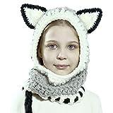 Richoose Inverno caldo Coif Cappuccio Sciarpa Caps Cappello Earflap Fox scialli di lana lavorato a maglia cappelli della protezione per il bambino scherza ragazzi delle ragazze, grigio