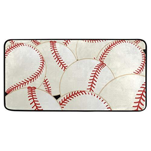 FANTAZIO Baseball-Teppich, rutschfeste Fußmatte für drinnen und draußen, 99 x 51 cm - Baseball-bürostuhl