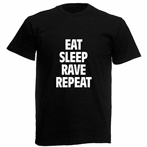 """T-shirt Uomo """"Eat Sleep Rave Repeat"""" - Maglietta techno elettronica 100% cotone LaMAGLIERIA,M, Nero"""