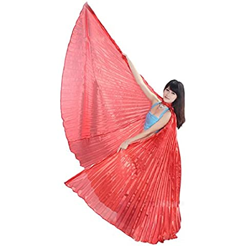 Malloom® Egipto vientre alas baile traje Danza Del Vientre accesorios no palos (rojo(red))