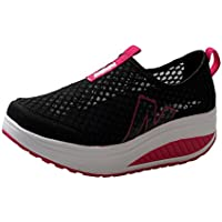 Zapatos slip on deportes mujer,Sonnena Zapatos de plataforma de mujer de moda Zapatos de malla de aire respirable de los mocasines de las mujeres Cuñas oscuras Zapatos
