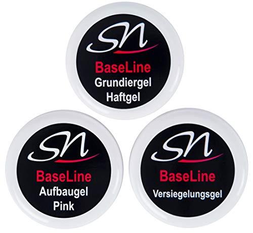 Haftgel Grundiergel Aufbaugel rose pink rosa und Versiegelungsgel Nagelgel UV Gel Set klar 3 x 15ml