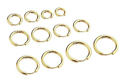 Aiuin: 6 paia di orecchini da uomo a  forma di anello, molteplici dimensioni. Orecchini in acciaio al titanio. Orecchini a bottone, bellissimi. e Acciaio inossidabile, colore: oro, cod. AIUIN~168