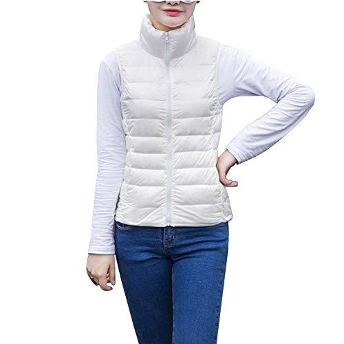 Uirend Bekleidung Damen Jacken Mäntel Westen - Daunenweste Leichtgewicht Packbar Kugelfisch Gepolstert Körper Wärmer Kurz Zip Ärmellos