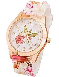 Sannysis® Reloj Mujeres Flor de silicona impresa; Causal de pulsera de cuarzo (rosa)