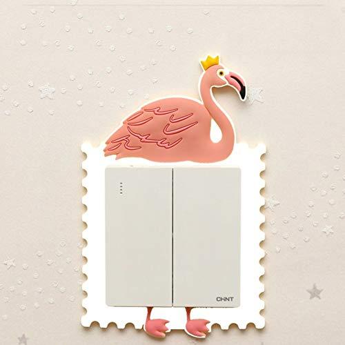 HX stickers 3D Animal en Forma de Fluorescente Pegatinas Interruptor de, Etiquetas engomadas de la Toma Interruptor de la luz Cubierta Protectora Sala de Estar Creativo Decorativo-Flamenco Blanco