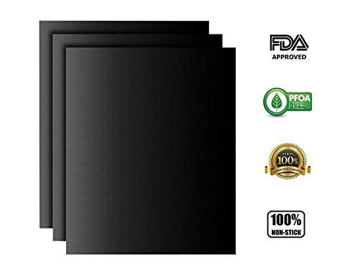 Dauerbackfolie / Backmatten wiederverwendbar 3er Set - Beidseitig verwendbar, geruchlos, ohne Silikon,nichtklebende Easy Clean (40cm x 33cm)(schwarz) von SANCENT (Weber-elektro-grill Stand)
