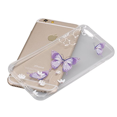 SainCat Coque Housse pour Apple iPhone 6 Plus /6s Plus,Transparent Coque Silicone Etui Housse,iPhone 6s Plus Silicone Case Soft Gel Cover Anti-Scratch Transparent Case TPU Cover,Fonction Support Prote papillon bleu #4