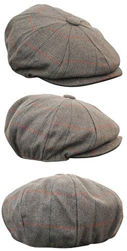 6c857725 Mens Tweed Newsboy Cap Peaky Blinders Baker Boy Flat Check Grandad Hat