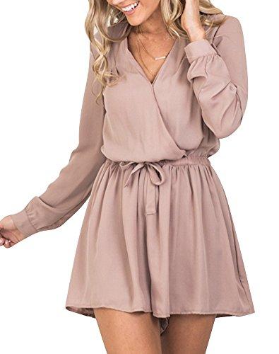 Minetom Damen Frühling Sommer Elegant V-Ausschnitt Hohe Taille Langarm Jumpsuits Overall Kurz Hosen Mit Volant Ärmel Pink DE 38 (Rosa Jumpsuit)