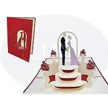 LIN-POP UP Karten Hochzeitskarten, Hochzeitseinladungen Valentinskarten 3D Karten Grußkarten Glückwunschkarten Liebe Hochzeit, Brautpaar bei Trauung, rot