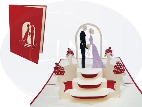 Lin de Pop Up Tarjetas Tarjetas de boda, boda invitaciones Valentin Tarjetas 3d Tarjetas Tarjetas de felicitación Tarjetas de felicitación Amor Boda, Pareja en wonkydragon, Rojo