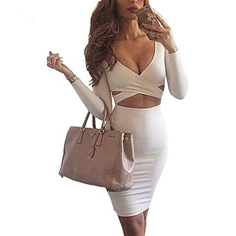Figurbetontes Kleid Knielang, GRAVOG Sexy Fest V Ausschnitt Langarm Bodycon Kleid 2 teilig, Verschiedene Farben und Größen (M,