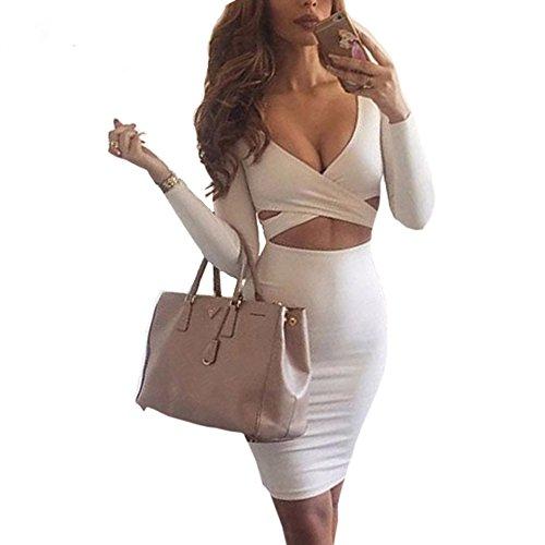 Figurbetontes Kleid Knielang, GRAVOG Sexy Fest V Ausschnitt Langarm Bodycon Kleid 2 teilig, Verschiedene Farben und Größen (S, Weiß) (2 Eng)