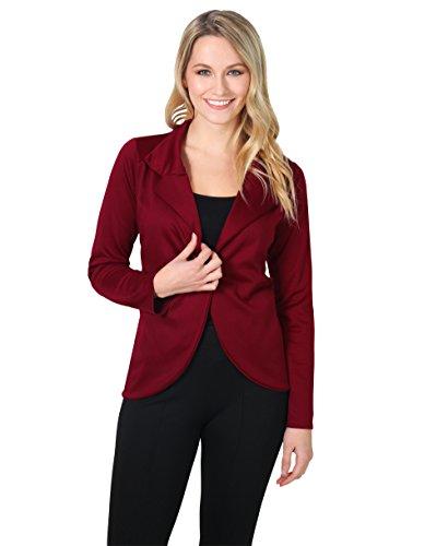 3558-WIN-16: KRISP Damen Fashion Blazer (Weinrot, Gr.44)