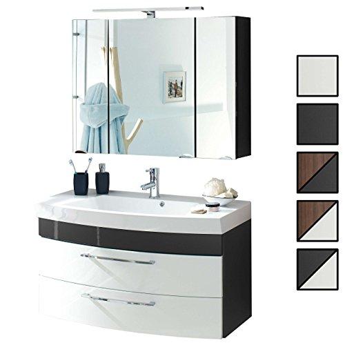 Badmöbel-Set VERONA Small Anthrazit Weiß 2-tlg, Spiegelschrank 90 cm LED beleuchtet, Badezimmer Waschplatz 100 cm mit 2 Schubladen (Waschbecken + Waschtisch-Unterschrank) -