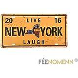 Placa Metal matrícula Vintage–New York Live Laugh (15x 30cm)