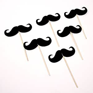 Pack of 24 Moustache Cocktail Drink Pick Decoration Cupcake Topper Photo Props