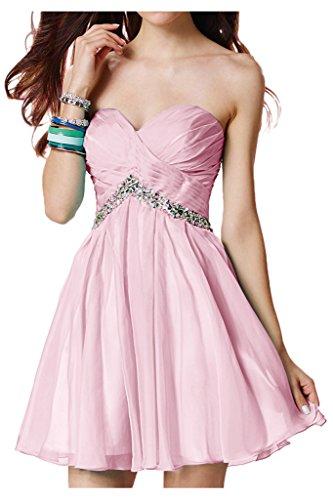 Royaldress Beliebt Chiffon Traegerlos Herzausschnitt Abendkleider Partykleider Cocktailkleider Mini A-linie Neuheit Rosa