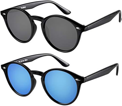 La Optica UV 400 Damen Herren Retro Runde Sonnenbrille Round - Doppelpack Glänzend Schwarz (Gläser: 1 x Grau, 1 x Hellblau verspiegelt)