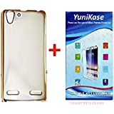 Yunikase MEEK5A3 Transparent Soft Silicon Electroplated Edges TPU Back Case & Tempered Glass Screen Protector For Lenovo VIBE K5 / K5 Plus (Gold)