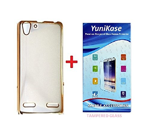 YuniKase MEEK5A3 (COMBO OFFER ) Lenovo VIBE K5 / K5 PLUS - Transparent Soft Silicon Flexible Electroplated Edges TPU Back Case Cover + Premium Tempered Glass screen pretector (Gold)