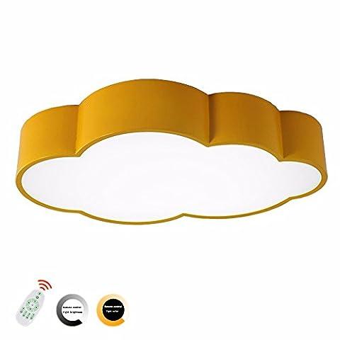 Enfants plafond lumière Creative nuage forme plafond lumière 4 couleurs LED acrylique télécommande sans Step gradation lumière plafonnier pour enfants salle de classe,Gradation progressive jaune,60CM