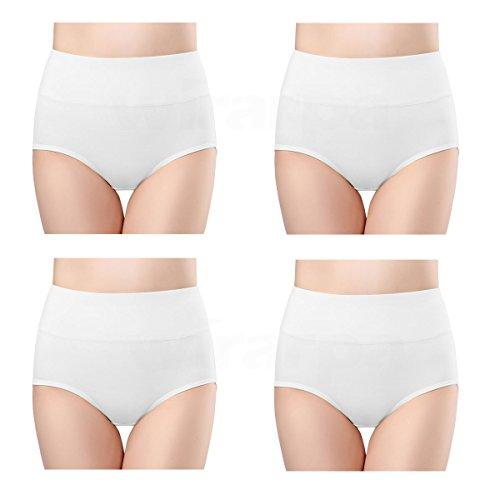 wirarpa Damen Unterhosen Baumwolle Weiß 4er Pack Slips Damen mit Hoher Taille Atmungsaktive Taillenslip Tolle Qualität Größe L 44-46
