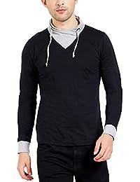 Maniac Men's Solid Fullsleeve Cowl Neck Black Cotton Tshirt