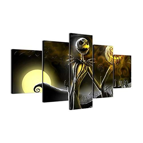 zxddzl 5 Stück Leinwand Halloween - Poster Nightmare Before Christmas Leinwand Bild Gemälde Zimmer Dekor Print - Poster Mauer - ()