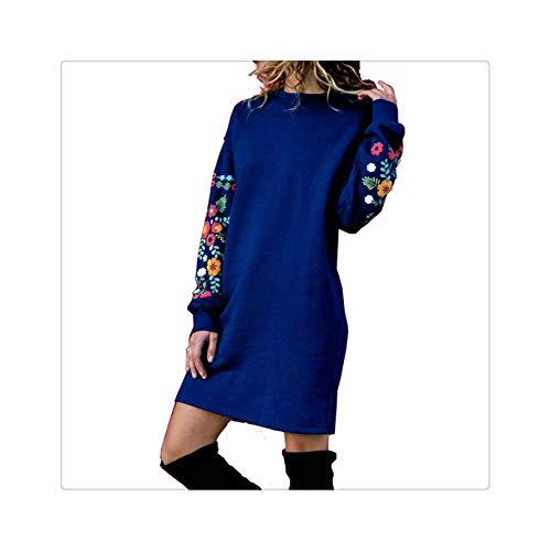 2019 Winter Warm Dresses Women Mini Dress Elegant Floral Print Long Sleeve O-Neck Loose Dress Black Streeetwear Vestido Blue S
