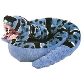 Snakesss Plüschtier Klapperschlange, blaue Schlange mit Kunststoffmaul, Kuscheltier ca. 137