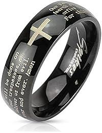Paula & Fritz® Anillo de acero inoxidable acero quirúrgico 316L Negro 6o 8mm de ancho Grabado Padre Nuestro Ring tamaños 47(15) 69(22) R de m2767