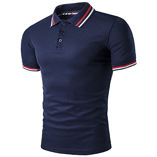 BicRad Herren Polo Shirt Slim Fit Baumwolle (XL, Marine)