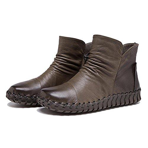 Femmina stivali in pelle cucito a mano retro breve spessa peluche con cerniera tacco piatto caldo scarpe casual, CAMEL-37 KHAKI-41