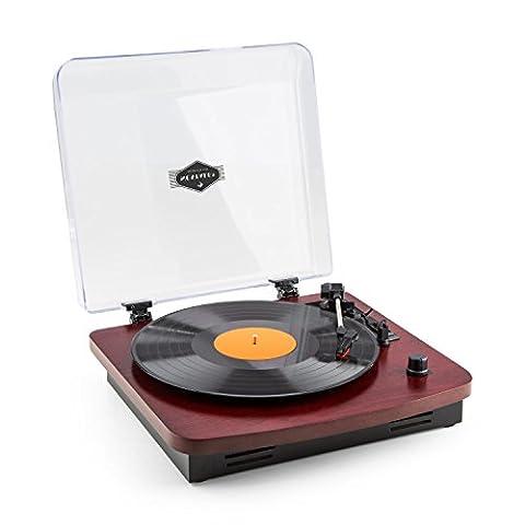 auna TT-370 • Schallplattenspieler • Plattenspieler • Riemenantrieb • USB-Port zum Abspielen und Digitalisieren • 3 Geschwindigkeiten • 33, 45 und 78 U/min. • Stereo-Lautsprecher • Auto-Start • Line-OutT • Holz-Furnier • Retro-Design • kirsche