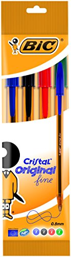 BIC Cristal Original Punta Fina - Estuche de 4 bolígrafos, color azul, negra, roja y verde