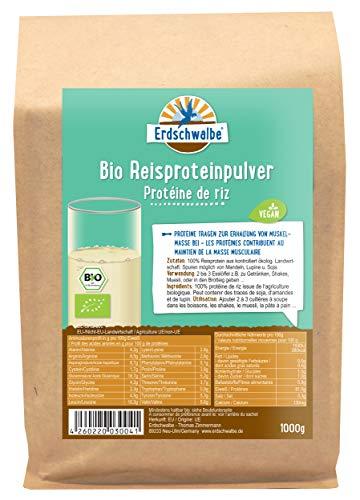 Erdschwalbe Bio Reisprotein - Hergestellt in der EU - Veganes Eiweißpulver - 1 Kg