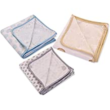 MOM'S HOME Organic Cotton Swaddle Cum Dohar, 0- 2 Years - Pack Of 3- Blue, Grey And Golden - 100X100 Cm - Multi Color