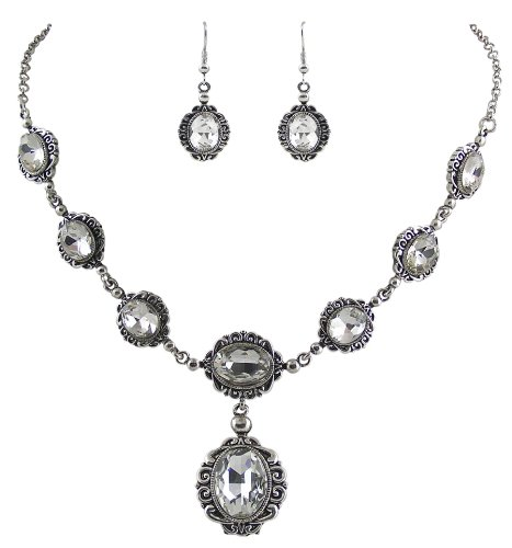 elegantes-trachtenschmuck-dirndl-collier-set-bestehend-aus-collier-und-ohrhangern-crystal-klar